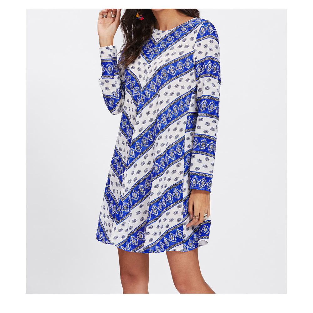 Dress - Blue White Print Long Sleeve Boho Shift Dress - MBM Unlimited