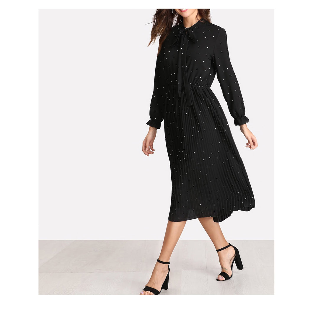 Dress - Black Polka Dots Long Sleeve Tie Neck Pleated Midi Dress - MBM Unlimited