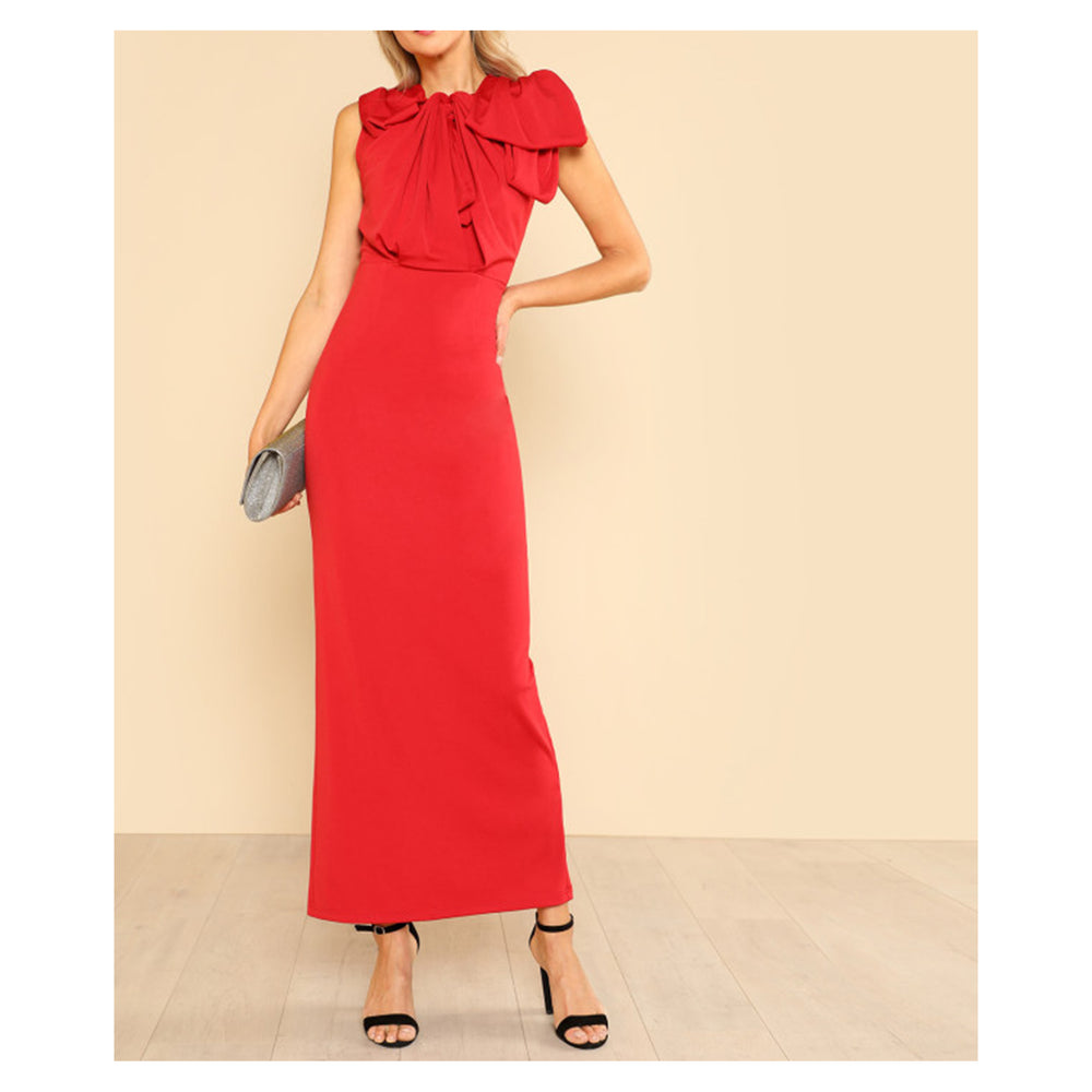 Dress - Bright Red Sleeveless Oversize Bow Bodycon Maxi Dress - MBM Unlimited
