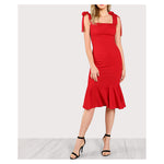 Dress - Red Tie Straps Bodycon Fishtail Midi Dress - MBM Unlimited