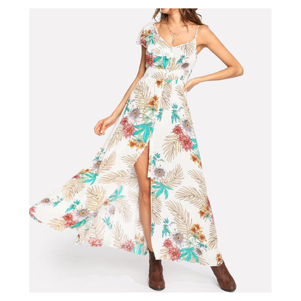 Dress - White Tropical Print Button Down Maxi Dress - MBM Unlimited