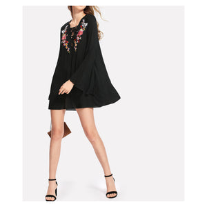 Dress - Black Lace Up Long Sleeve Embroidered Shift Dress - MBM Unlimited
