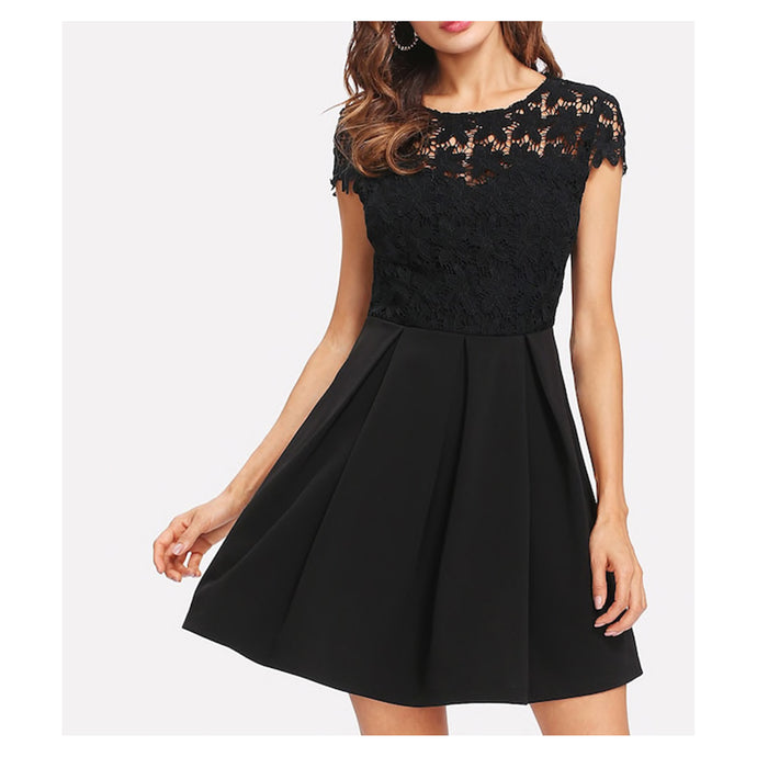 Dress - Black Cap Sleeve Tie Back Crochet Lace Skater Dress - MBM Unlimited