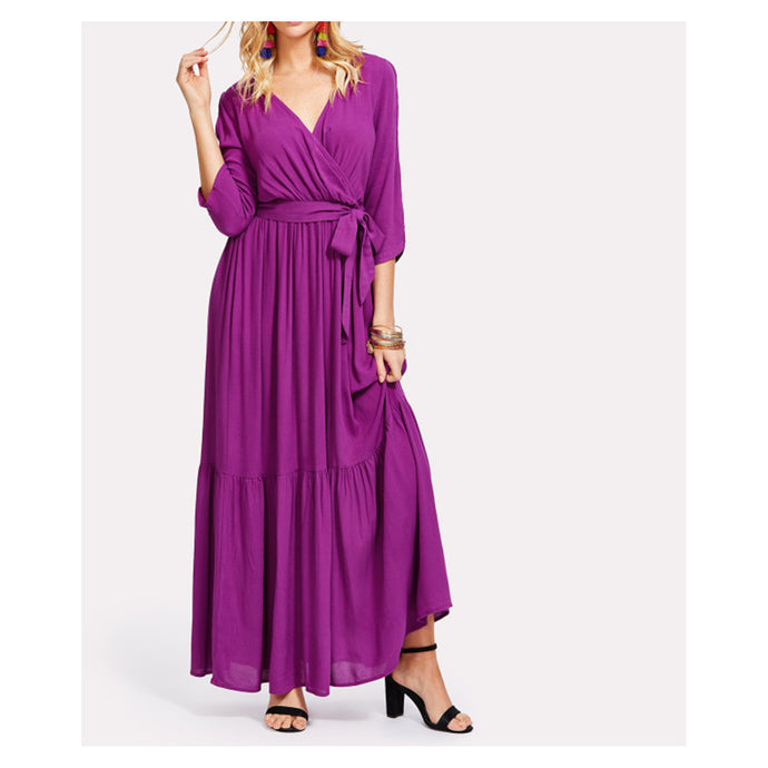 Purple 3/4 Sleeve V Neck Self Tie Maxi Dress