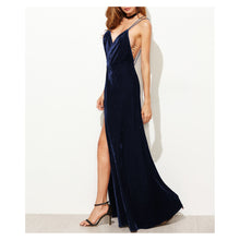 Dress - Dark Blue Strappy Backless Velvet Wrap Maxi Dress - MBM Unlimited