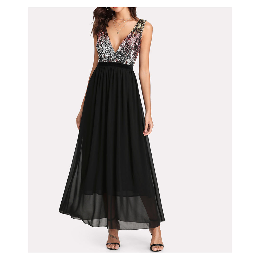 Dress - Black Deep V Sleeveless Sequin Contrast Maxi Dress - MBM Unlimited