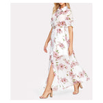Dress - White Floral Short Sleeve Button Down Maxi Shirt Dress - MBM Unlimited