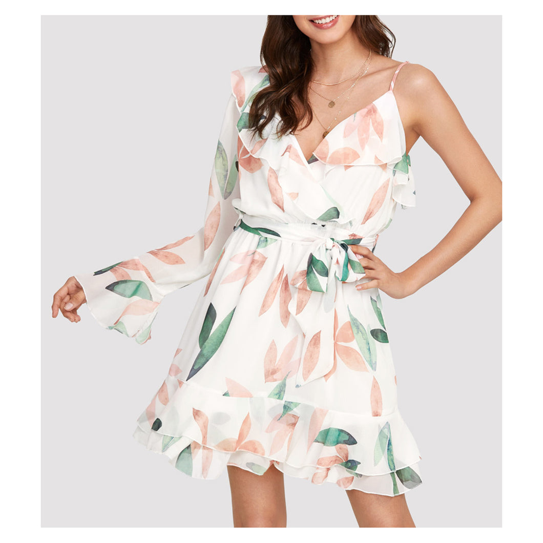20a6bbf49a7a White Floral One Shoulder Ruffle Fit   Flare Dress – MBM Unlimited