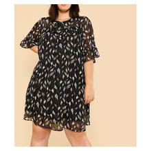 Dress - Black Leaf Print Sheer Shoulder Chiffon Dress - MBM Unlimited