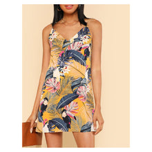 Yellow Tropical Print Sleeveless Cami Shift Dress