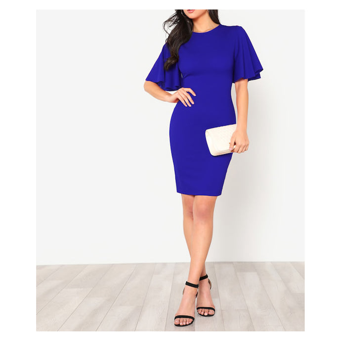 Dress - Blue Flutter Sleeve Bodycon Midi Dress - MBM Unlimited