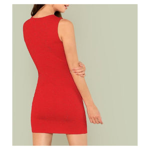 Dress - Red Glitter Cut Out Bodycon Mini Dress - MBM Unlimited