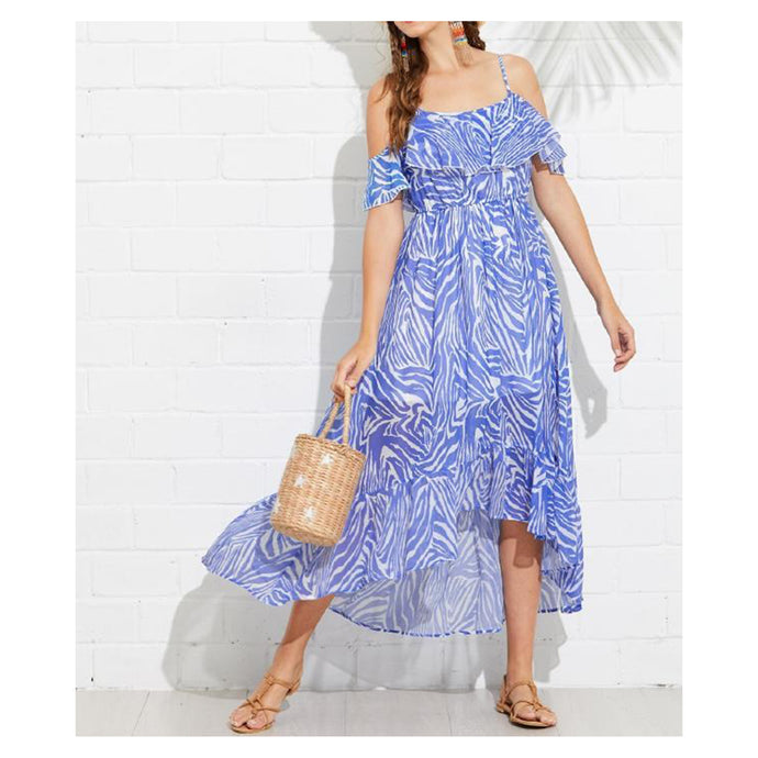 Dress - Blue White Zebra Print Flounce Cold Shoulder Maxi Dress - MBM Unlimited