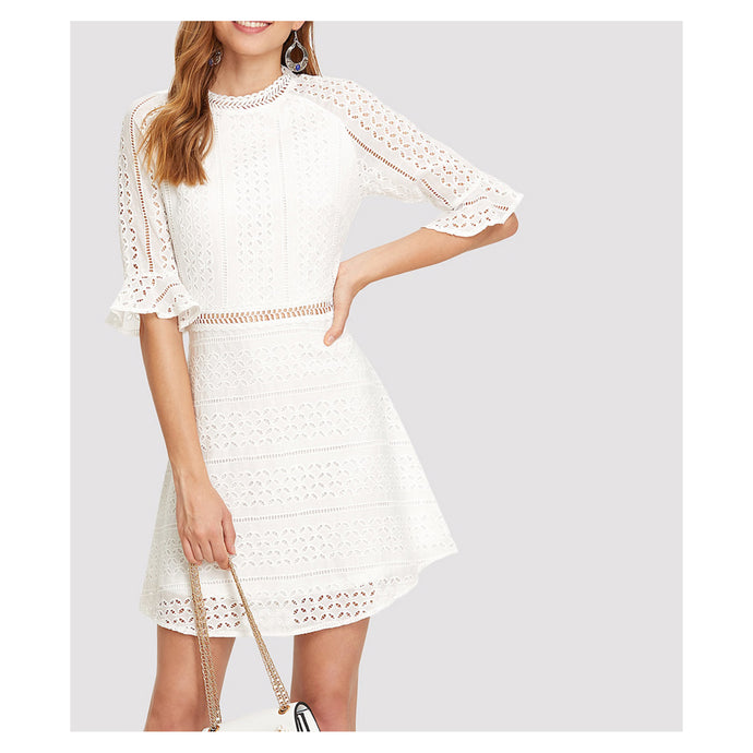 White 3/4 Sleeve Lace Embroidered Eyelet Mini Dress