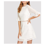 Dress - White 3/4 Sleeve Lace Embroidered Eyelet Mini Dress - MBM Unlimited