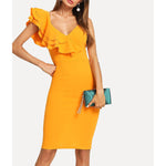 Yellow Ruffle Sleeve Bodycon Pencil Midi Dress
