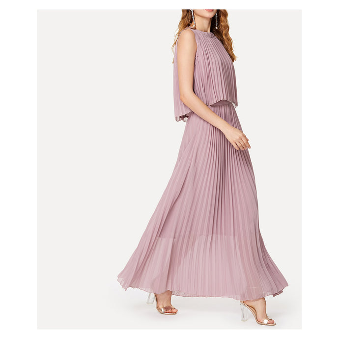Dress - Dusty Pink Sleeveless Pleated Maxi Dress - MBM Unlimited