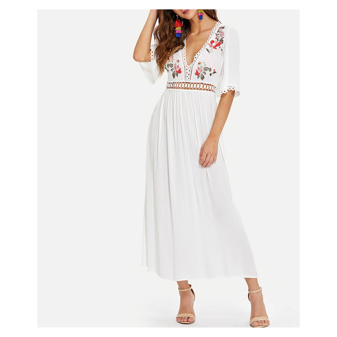 White V Neck Short Sleeve Floral Embroidered Maxi Dress