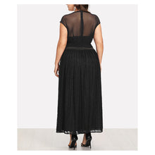 Dress - Black Sleeveless Mesh Panel Lace Maxi Dress - MBM Unlimited