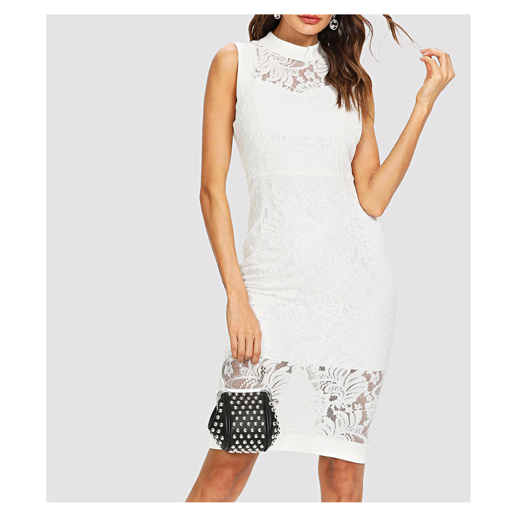 White Sleeveless Lace Overlay Bodycon Midi Dress