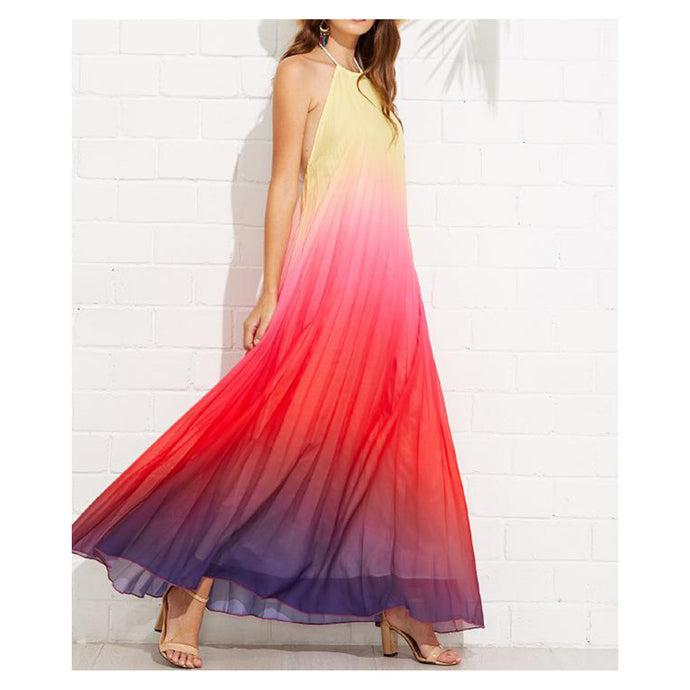 Dress - Multicolor Ombre Halter Backless Pleated Maxi Dress - MBM Unlimited