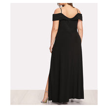 Dress - Black Cap Sleeve Side Slit Plus Size Maxi Dress - MBM Unlimited