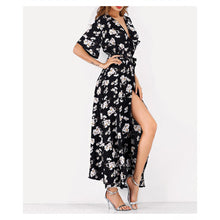 Dress - Black Floral Short Sleeve Faux Wrap Maxi Dress - MBM Unlimited
