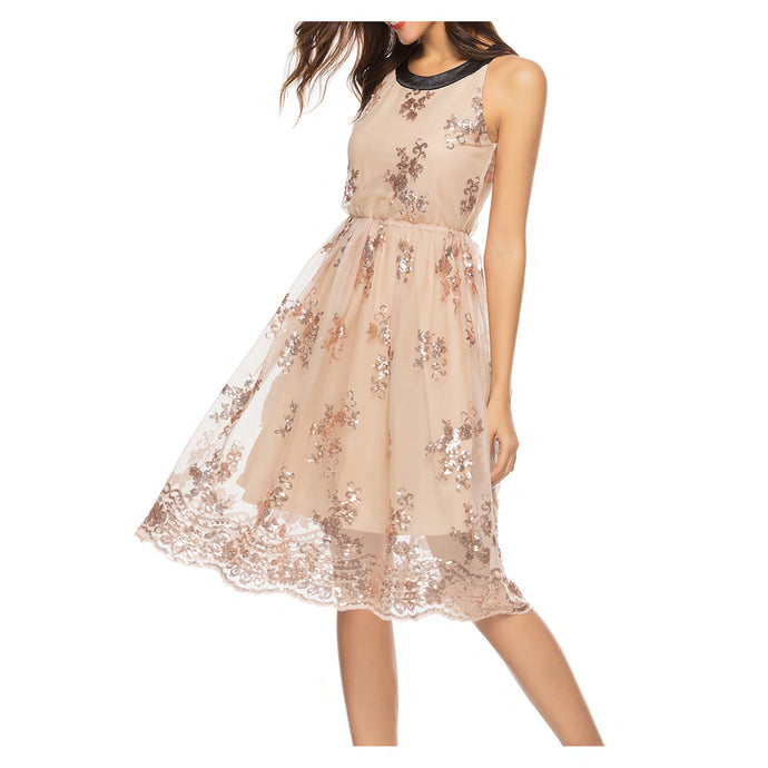 Nude Rose Gold Sleeveless Mesh Overlay Sequin Dress
