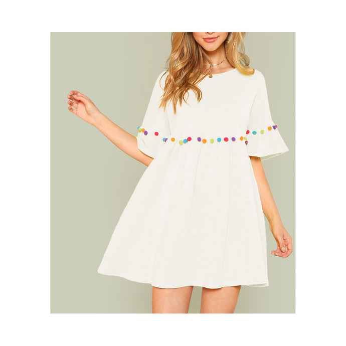 White Pom Pom Short Sleeve Casual Shift Sundress