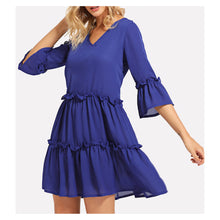 Dress - Blue V Neckline Flounce Sleeve Frill Trim Shift Dress - MBM Unlimited