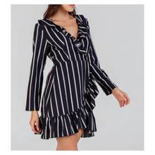 Dress - Blue Striped Long Sleeve Fit and Flare Ruffle Wrap Dress - MBM Unlimited
