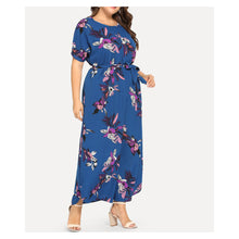 Dress - Blue Floral Short Sleeve Plus Size Maxi Dress - MBM Unlimited