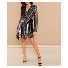 Dress - Colorful Rainbow Long Sleeve Wrap Sequin Cocktail Dress - MBM Unlimited