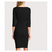 Dress - Black Bodycon Pearl Embellished Cocktail Knee Length Dress - MBM Unlimited