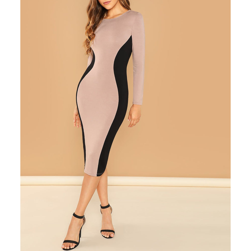Black Nude Contrast Bodycon Midi Dress
