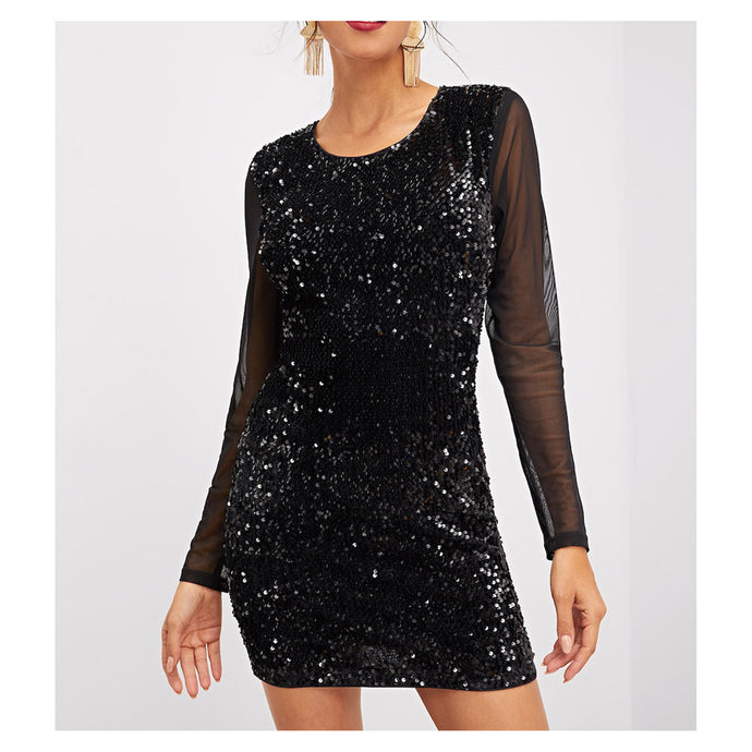 Dress - Black Mesh Sleeves and Back Bodycon Sequin Party Dress - MBM Unlimited