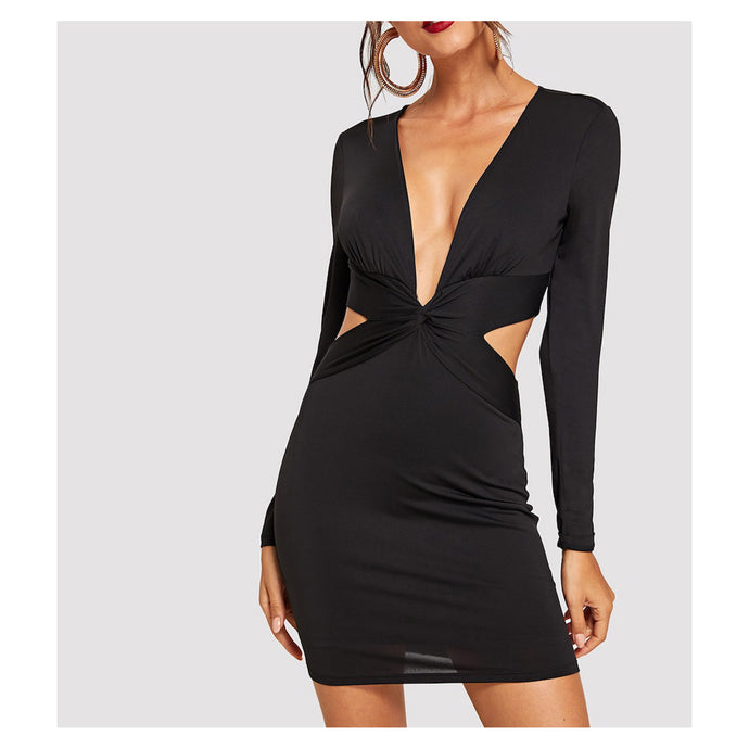 Dress - Black Long Sleeve Bodycon Front Twist Cocktail Short Dress - MBM Unlimited