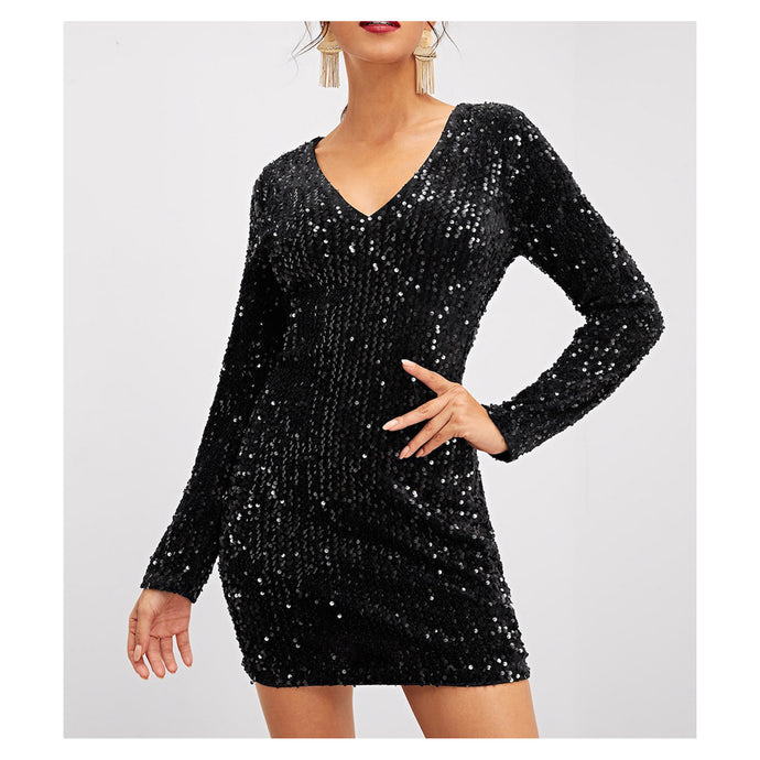 Dress - Black Long Sleeve Bodycon Sequin Cocktail Dress - MBM Unlimited