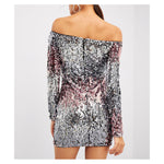 Dress - Silver Pink Ombre Off the Shoulder Bodycon Sequin Cocktail Dress - MBM Unlimited