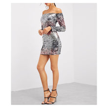 Silver Pink Ombre Off the Shoulder Bodycon Sequin Cocktail Dress