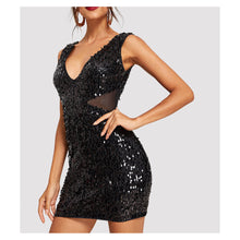 Dress - Black Sleeveless Bodycon Cut Out Sequin Party Dress - MBM Unlimited