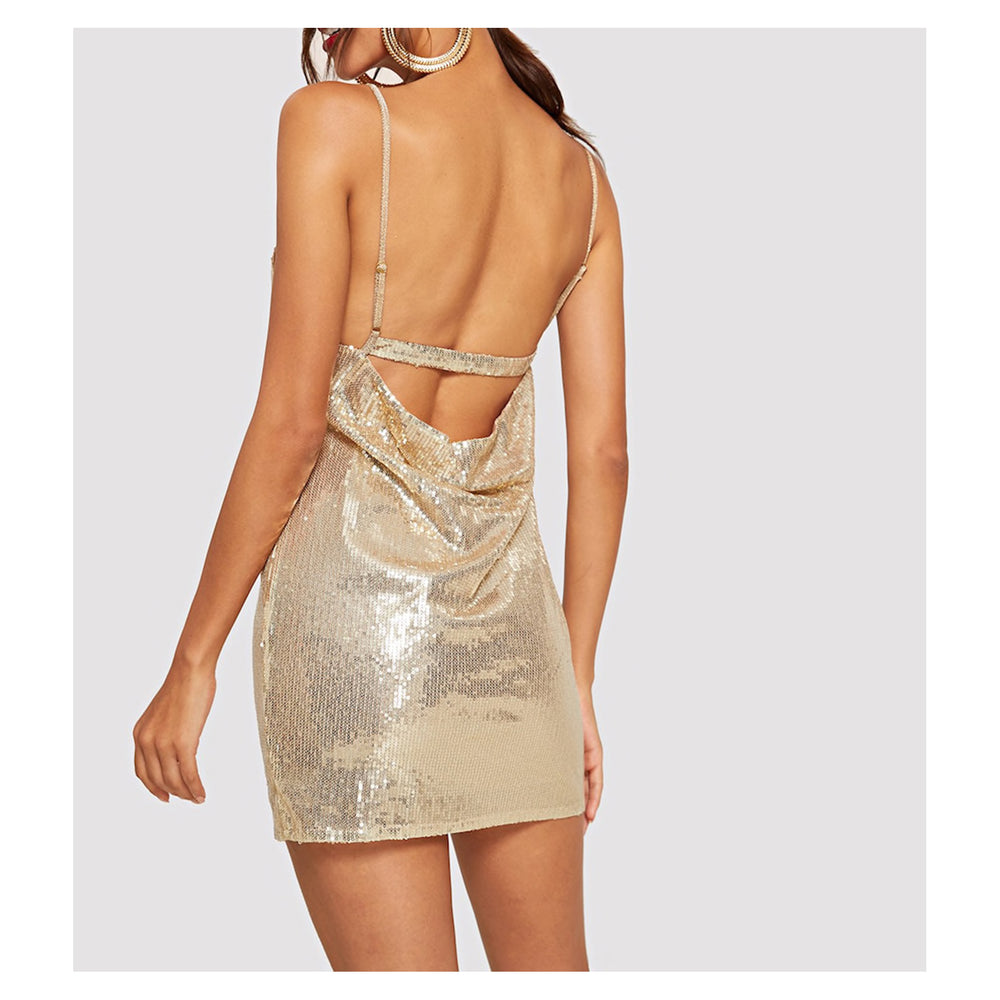 Dress - Gold Draped Backless Bodycon Sexy Sequin Party Dress - MBM Unlimited