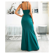 Green Sleeveless Mesh Details Fishtail Long Dress