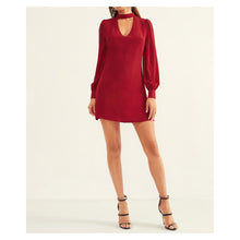 Dress - Burgundy Long Sleeve Shift Choker Cocktail Short Dress - MBM Unlimited