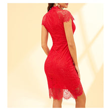 Red Cap Sleeve Sexy Bodycon Asymmetrical Hem Lace Cocktail Dress
