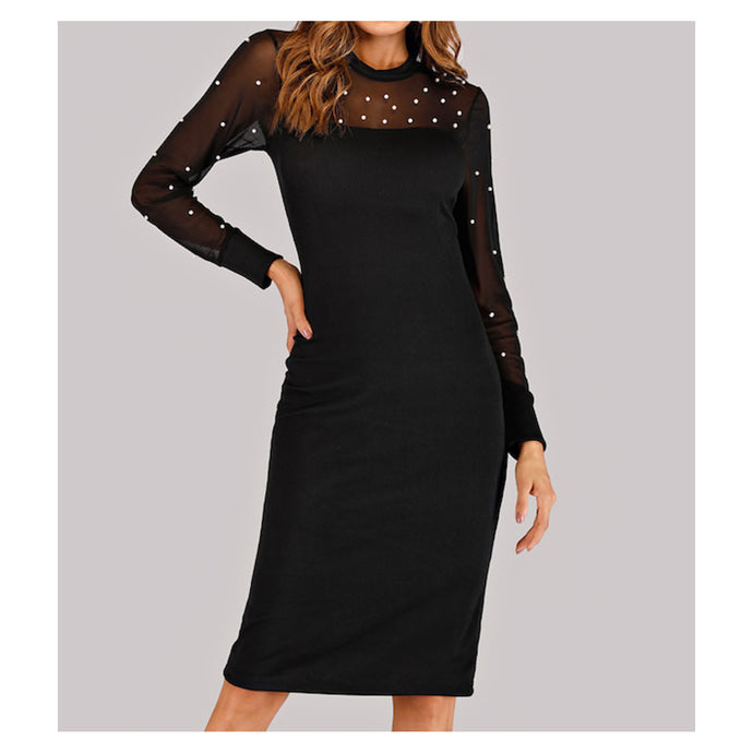 Dress - Black Long Sleeve Mesh Faux Pearl Embellished Midi Dress - MBM Unlimited