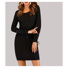Dress - Black Long Sleeve Lace Up Details Ribbed Bodycon Dress - MBM Unlimited