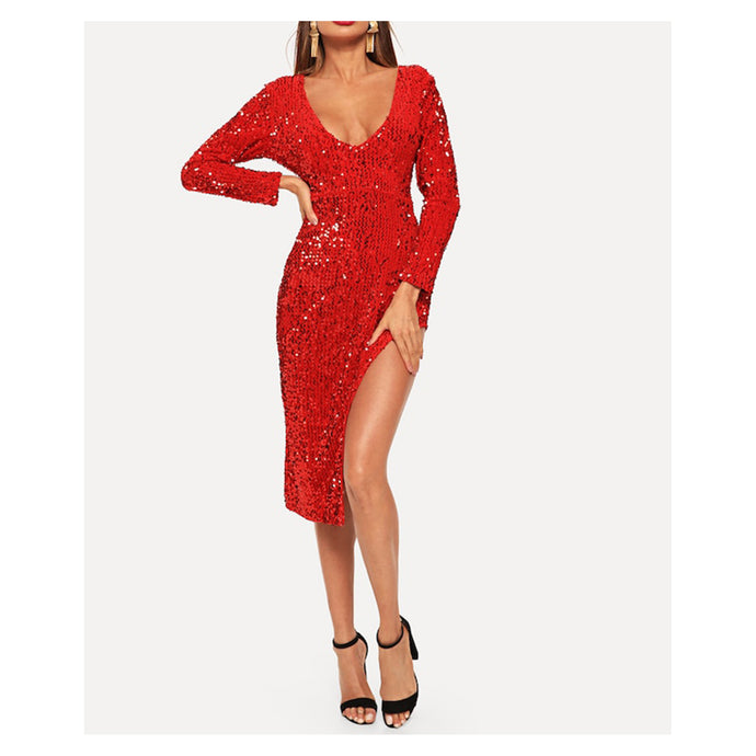 Red Deep V Long Sleeve High Slit Sequin Midi Dress