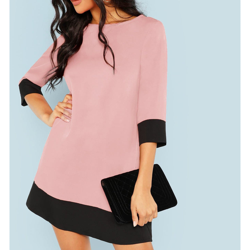 Pink Black Contrast Trim Shift Tunic Dress