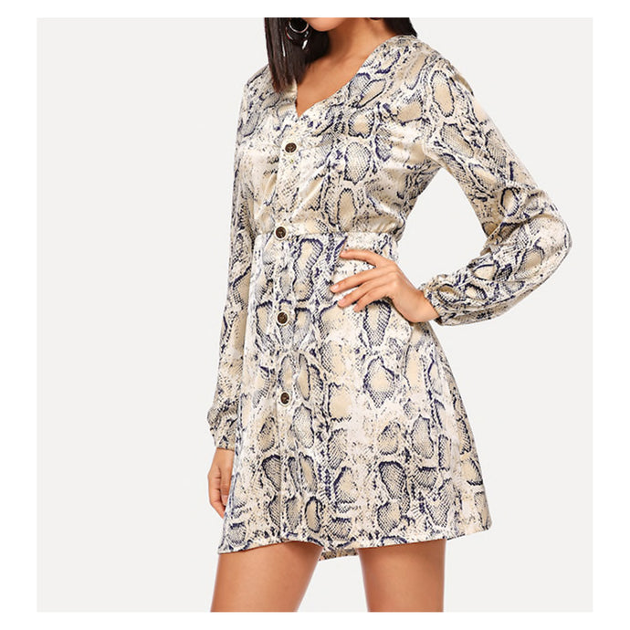 Snake Print Long Sleeve Button Down Mini Dress